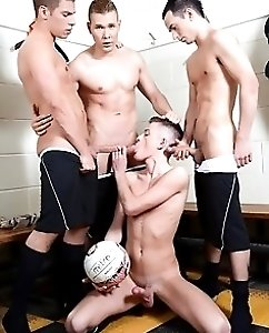 Cute Twink Gets Three Cocks For The Price Of...