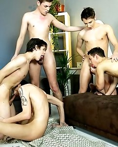 Hot gay twinks getting their tight behinds nailed